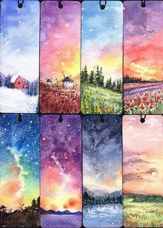 Earth tone bookmarks, landscapes watercolor and ink painting ideas.