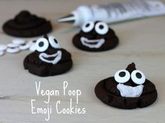 Poop emoji cookies! I made these for a kid's birthday party they disappeared fast! (recipe in comments) #veganrecipes #vegan #vegetarian #recipes #recipe #MeatlessMonday #whatveganseat #veganbooks #glutenfree #rawvegan #RAW