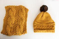Snood et bonnet couleur moutarde au tricot Le snood est un modèle de chez Katia Quelques réalisations au tricot - Mamzellessaye #diy #tricot #katia #snood #bonnet