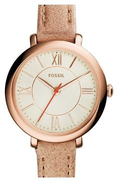 Free shipping and returns on Fossil 'Jacqueline' Leather Strap Watch, 26mm at Nordstrom.com. Slender Roman numerals and a slim leather strap enhance the elegant appeal of a lovely round watch designed with a subtle scalloped design on the textured dial.