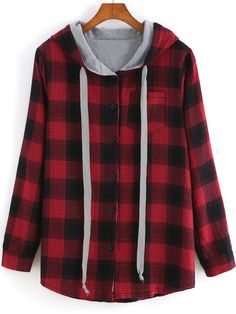 Shop Red Hooded Long Sleeve Plaid Pocket Sweatshirt online. SheIn offers Red Hooded Long Sleeve Plaid Pocket Sweatshirt & more to fit your fashionable needs.