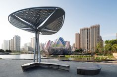 The Lotus Building and People's Park- China- Tree Structure, Shade Structure, Landscape Structure, Unusual Buildings, Amazing Buildings, Architecture Details, Landscape Architecture, Structural Model, Lanscape Design