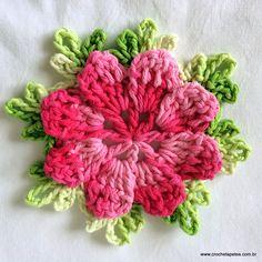 Beautiful Crochet Flower: free pattern, use translate Crochet Flower Tutorial, Crochet Motifs, Crochet Flower Patterns, Crochet Squares, Knit Or Crochet, Crochet Crafts, Yarn Crafts, Crochet Stitches, Crochet Hooks