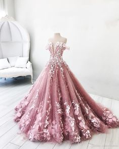 Ball Gown Off-the-Shoulder Lavender Tulle Appliques Prom Dress with Feather,Pink Lavender Quinceanera Dress,Prom Dress on Storenvy Pink Formal Dresses, Pink Wedding Dresses, Lace Evening Dresses, Wedding Gowns, Flower Girl Dresses, Princess Dresses, Simple Dresses, Tulle Wedding, Dress Formal