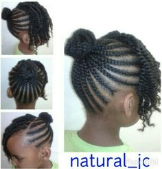 Cornrowed bun twisted bangs