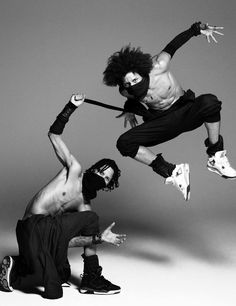 """Les Twins (born Laurent & Larry Bourgeois), French identical twins, dancers, choreographers, & models. Nicknamed """"Lil Beast"""" & """"Ca Blaze,"""" they are recognized internationally for their talents in new style hip-hop dancing. They became prominent in the US after a video of their performance on World of Dance went viral. They won the Hip-hop New Style division of the international street dance competition Juste Debout. They have danced for Beyoncé & Missy Elliott, and modeled for Jean Paul…"""