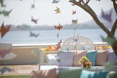 Mehendi - Pastel Theme with Origami Birds & Pastel Cushions - Kresha Bajaj and Vanraj Zaveri Wedding Diy Home Decor Easy, Asian Home Decor, Mehendi, Art Deco Home, Wedding Decorations, Table Decorations, Wedding Photo Albums, Wedding Costs, Colored Paper