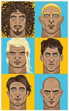 Que tales clásicos (y modernos) del surf: Rob Machado, Mick Fanning, Mark Occhilupo, Andy Irons, Dane Reynolds and Kelly Slater.