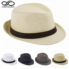 bcdf78aae82e LUCKYLIANJI Child Kid Jazz Beach Fedora Trilby Gangster Cap Summer Sunhat  Straw Panama Hat For Boys Girls (One Size 54cm)-in Hats   Caps from Mother    Kids ...