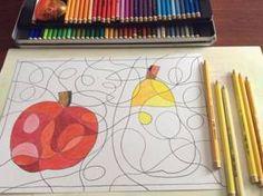 Jablko, hruška – čáry a barvy Op Art Lessons, Color Wheel Art, Art For Kids, Crafts For Kids, Apple Art, Harvest Party, Collages, Cool Art Projects, 2d Design