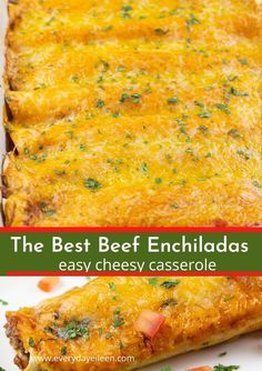 Easy Beef Enchiladas Recipe Easy ground beef enchiladas recipe with a tasty center filled with beef, beans, and cheese. The flour tortillas are topped with homemade red enchilada sauce and Colby jack and cheddar cheese. Easy Beef Enchiladas, Enchilada Casserole Beef, Ground Beef Enchiladas, Enchilada Sauce, Beef Enchilada Recipes, Chili Con Carne Enchilada Recipe, Beef Enchiladas Corn Tortillas, Authentic Mexican Recipes, Mexican Food Recipes