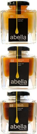 Nice lid/safety tab/label tie-in. == Abella, which produces exquisite, all-natural honey from remote apiaries in the dense woodlands of Galicia, Spain. Honey Packaging, Bottle Packaging, Food Packaging, Brand Packaging, Label Design, Branding Design, Web Design, Logo Design, Honey Bottles