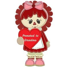 Rag Doll With Big Bow Promoted To Grandma Applique Machine Embroidery Digitized Design Pattern #valentines #embroidery #applique #doll