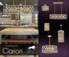 New from Savoy House, the Clarion collection is a highly glamorous take on lighting with faceted square-cut crystals and a shimmering Gold Bullion finish.