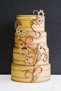 Steampunk Wedding Cake by Gimme Some Sugar (vegas!), via Flickr