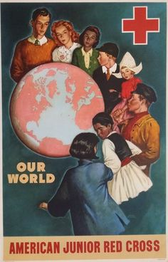 1945 American Junior Red Cross Original by OutofCopenhagen Cross Pictures, Vintage Pictures, American Juniors, International Red Cross, Learning English Online, Poster Display, Campaign Posters, American Red Cross, Family Humor