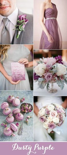 romantic dusty purple and gray wedding color inspiration #weddingflowers