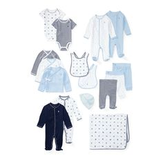 From our collection of baby gift sets, these coordinating essentials mix sweet stripes, a playful print featuring our signature Polo Bear, and an adorable alphabet pattern. The reversible blanket, four coveralls, three sets of matching kimono-style tops and pants, two bibs, a beanie, and two bodysuits are all elegantly presented in our signature box, making it the perfect present.