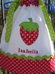 strawberry applique pillowcase dress with name by PJQuilts on Etsy, $29.99  love it! @Cory Ledford