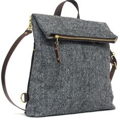 Wanderlust 4-Way Classic - Herringbone man bag in grey Harris Tweed can be converted to backpack, Crossbody Messenger, Shoulder bag or Brief case. By Edinburgh Designer Catherine Aitkin
