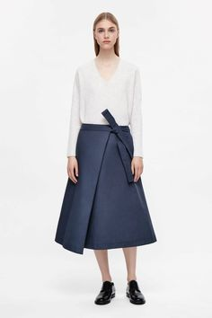 COS image 1 of Folded wrap-over skirt in Shadow Blue