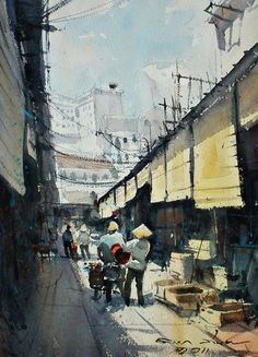 Ben Thanh Market, Ho Chi Minh (watercolor, 26x36 cm)