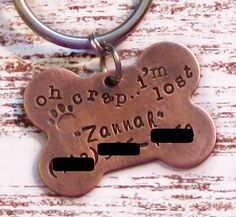 Hand Stamped Personalized Copper Dog Bone Pet ID by talktothepaws, $22.00