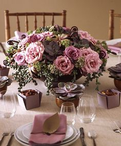 floral centerpiece dusky rose lilac copper by martha stewart