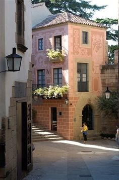 The Spanish Village. Poble Espanyol in Montjuic- Barcelona, Catalonia.