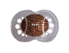 Baby Bling Things Football Bling Pacifier Brown or Pink Bling Pacifier, Boy Pacifier, Baby Shower Gifts, Baby Gifts, Baby Binky, Sports Baby, Football Baby, Baby On The Way, Everything Baby