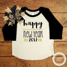 c66643909 Items similar to New Years Eve Outfit Gold Glitter- Infant Toddler Child  Shirt- Happy New Year 2018 Shirt- kids Holiday outfit- Optional matching  bow #058 ...
