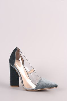 Qupid Crushed Velvet Lucite Inset Chunky Heeled Pump ed4a0e9d0