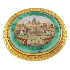 A late 19th century 18ct gold micro mosaic and malachite brooch. Of oval-shape outline, the micro mosaic depicting the Vatican, inlaid to the malachite panel, within a rope-twist and foliate engraved surround.