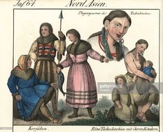Koryak people in fur lined coats and clothes holding a spear and fish, and a tattooed Chukshi woman with her children all wearing animal fur clothes. Handcoloured lithograph from Friedrich Wilhelm Goedsche's Vollstaendige Völkergallerie in getreuen Abbildungen (Complete Gallery of Peoples in True Pictures) Meissen circa 1835-1840. Goedsche (1785-1863) was a German writer bookseller and publisher in Meissen.