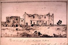 Mary Ann Adams Maverick,  watercolor, ca. 1838  Earliest known post-battle view of the Alamo ruins.
