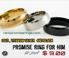 #Titanium #Silver, #Black, #Gold #Classic #Promise #Rings for Him at only $$9.00 #Metal: #Titanium #Style: #Trendy #promiserings