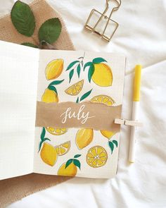 They said when life gives you lemons, make a lemonade. Well, if I was given lemons, I would make it the theme of my bullet journal .Double tap if you love journaling! Bullet Journal Cover Ideas, Bullet Journal Headers, Bullet Journal Banner, Bullet Journal Aesthetic, Bullet Journal Notebook, Bullet Journal School, Bullet Journal Spread, Bullet Journal Inspiration, Journal Diary