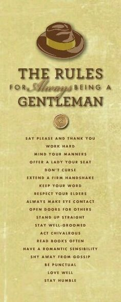 Rules for always being a gentleman