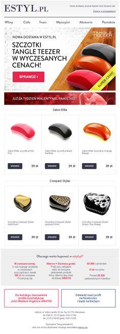 Projekt Newslettera  przygotowanego dla sklepu Estyl.pl - Promocja szczotek Tangle Teezer