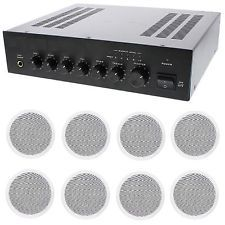 STORE/OFFICE BUSINESS BACKGROUND MUSIC & PAGING SOUND SYSTEM- AMP, 8 SPEAKERS +