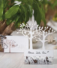 Faux Birch Log Wedding Stationery Card Holder