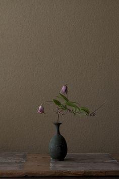 花人:川瀬敏郎  花:深山半鐘蔓(ミヤマハンショウヅル)  器:青銅王子形水瓶(六朝時代)