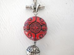 Red Asian Pendant Carved Bead Silver Metal Red Black Vintage Mid Century Asian Jewelry GallivantsVintage by GallivantsVintage on Etsy