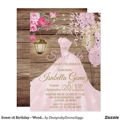 Sweet 16 Birthday - Wood and Pink Flowers Invitation