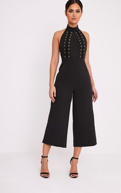 Stephanie Black Lace up Cullote Jumpsuit Image 1