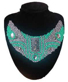 Maxi collar de rocallas verde agua y plateado DIY. Jewerly
