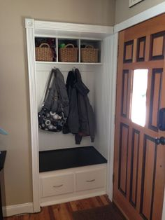 Small Coat Closet Ideas Through The Front Door: Entry Closet Remodel. Really Need To Do Something Like This. Closet Nook, Closet Redo, Hallway Closet, Closet Remodel, Closet Bedroom, Closet Ideas, Closet To Mudroom, Closet Bench, Closet Turned Office