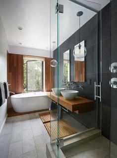 Ванная в цветах: Светло-серый, Коричневый, Темно-коричневый, Темно-зеленый, Сиреневый. Ванная в стиле: Минимализм.