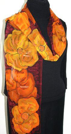 by SilkScarvesColorado Curvy Fashion, Fashion Art, Teen Fashion, Painted Silk, Hand Painted, Names Of Artists, Fall Bouquets, Silk Art, Salmon Color