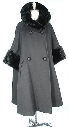 c. early 1950's ORIGINALA Black Wool Swing Coat Trimmed in Sheared Black Beaver Fur!  Sold at the Prestigious Julius Garfinckel & Co, Washington DC